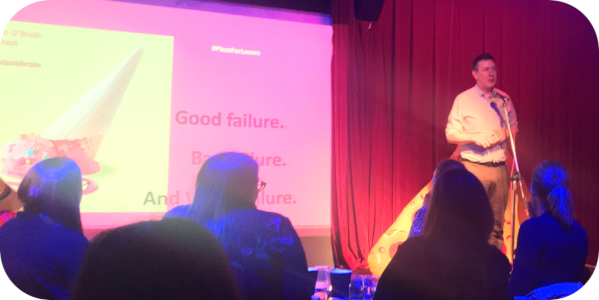 Pizza for losers speaker Damian O'Broin delivers speech: Good failure, bad failure and what-the-hell? failure.