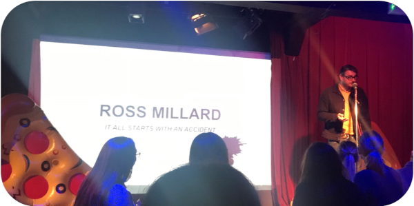 Pizza for losers speaker Ross Millard delivers his speech: It all starts with an accident.