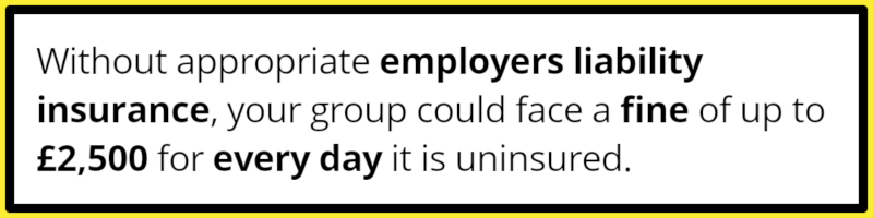 Employers liability insurance is a legal requirement and as such a necessary insurance for community groups. Without it your group could face fines of £2,500 for every day uninsured.