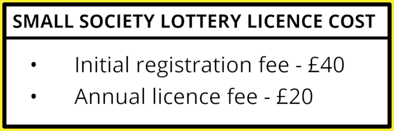 Small society lottery licence cost: Initial registration, £40; Annual licence fee, £20.