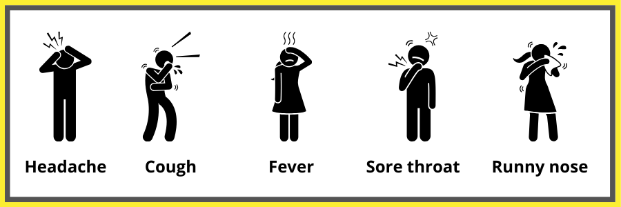 Some of the symptoms of coronavirus include: Headache, cough, fever, sore throat & runny nose.